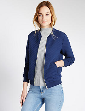 Loose Fit Quilted Texturer Bomber Jackets