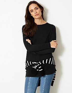 Round Neck Long Sleeve Longline Slub T-Shirt, BLACK, catlanding