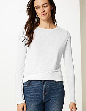 Round Neck Long Sleeve Longline Slub T-Shirt, WHITE, catlanding