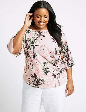 CURVE Floral Print Short Sleeve Top