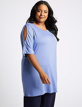CURVE Round Neck Cold Shoulder T-Shirt, BLUE, catlanding