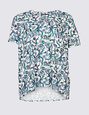 CURVE Floral Print Short Sleeve T-Shirt, IVORY MIX, catlanding