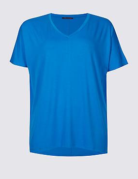 CURVE Round Neck Short Sleeve T-Shirt, BRIGHT BLUE, catlanding