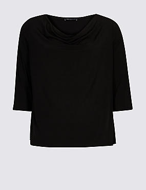 CURVE Cowl Neck 3/4 Sleeve Top, BLACK, catlanding