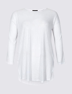CURVE Longline 3/4 Sleeve Top , SOFT WHITE, catlanding