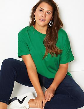 CURVE Round Neck Short Sleeve T-Shirt , GREEN, catlanding