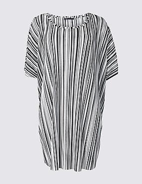 CURVE Striped Round Neck Half Sleeve Top, BLACK MIX, catlanding