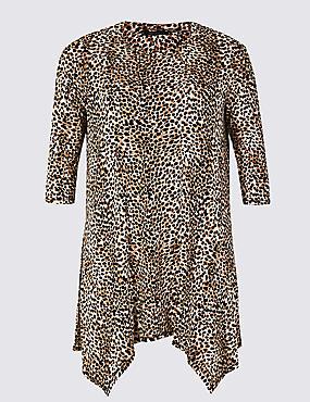 CURVE Animal Print 3/4 Sleeve Top, BLACK MIX, catlanding