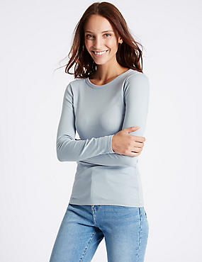 Pure Cotton Round Neck Long Sleeve T-Shirt, SOFT BLUE, catlanding