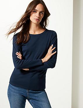 Pure Cotton Round Neck Long Sleeve T-Shirt, NAVY, catlanding