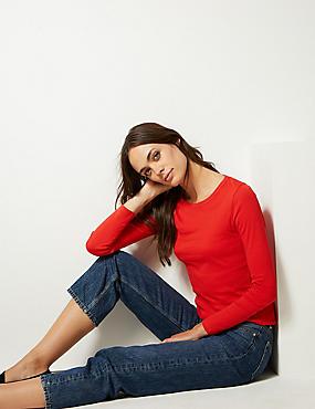 Pure Cotton Round Neck Long Sleeve T-Shirt, CHILLI, catlanding