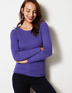 Pure Cotton Round Neck Long Sleeve T-Shirt, ULTRAVIOLET, catlanding
