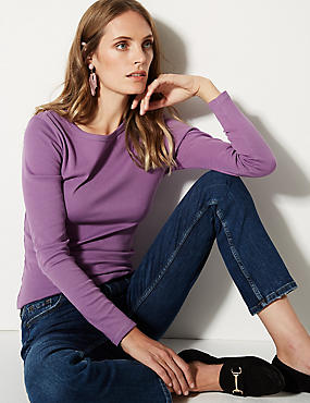 Pure Cotton Round Neck Long Sleeve T-Shirt, AMETHYST, catlanding
