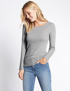 Pure Cotton Round Neck Long Sleeve T-Shirt, GREY MARL, catlanding