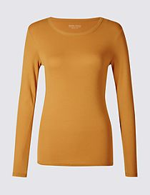 Pure Cotton Round Neck Long Sleeve T-Shirt