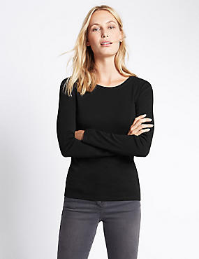 Pure Cotton Round Neck Long Sleeve T-Shirt, BLACK, catlanding
