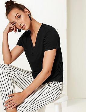 Woven Trim Neckline Short Sleeve Jersey Top, BLACK, catlanding