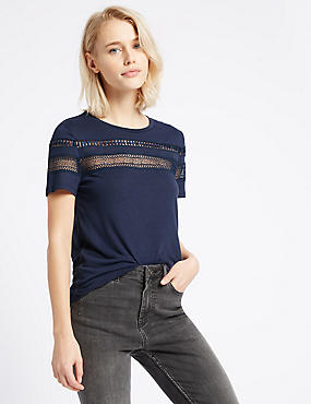 Lace Trim Short Sleeve Jersey Top