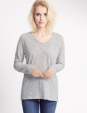 Striped V-Neck Long Sleeve Jersey Top