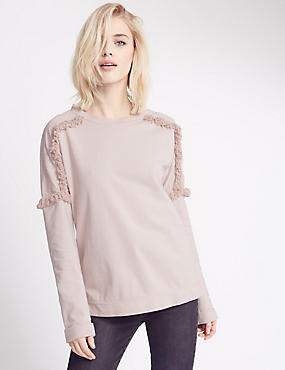 Pure Cotton Embroidered Shoulder Jersey Top