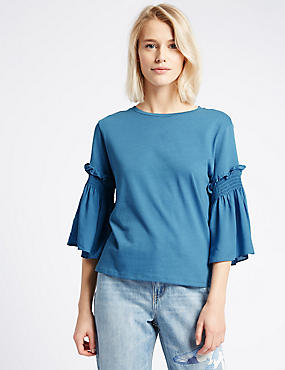Pure Cotton Smock 3/4 Sleeve Jersey Top