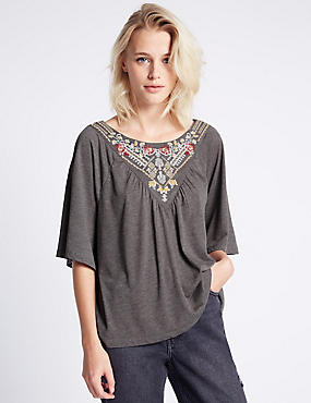 Embroidered Half Sleeve Jersey Top