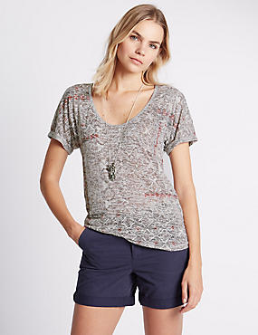 Loose Fit Embroidered Burnout Top