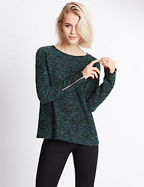 Long Sleeve Boucle Jersey Top