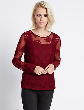 Slim Fit Mesh Long Sleeve Top