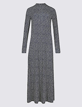 Floral Print Long Sleeve Maxi Dress , NAVY MIX, catlanding