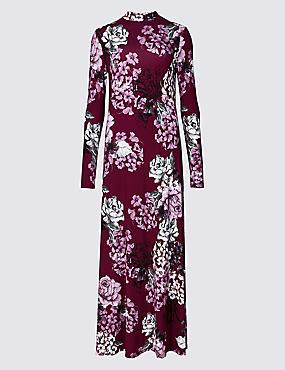 Floral Print Long Sleeve Maxi Dress , PLUM MIX, catlanding
