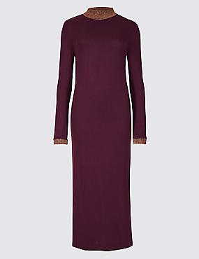 Textured Long Sleeve Maxi Dress , PLUM MIX, catlanding