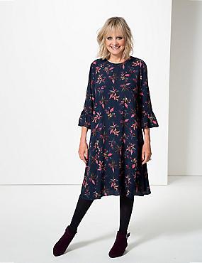 Printed 3/4 Sleeve Swing Dress, NAVY MIX, catlanding