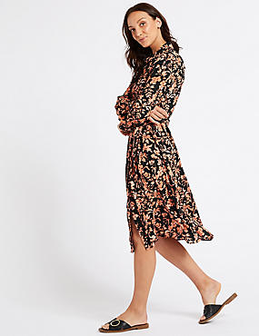 Floral Print Long Sleeve Shirt Midi Dress  , BLACK MIX, catlanding