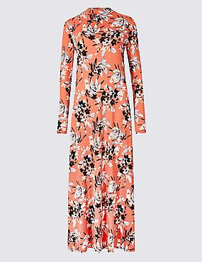 Floral Print Long Sleeve Maxi Dress , BLACK MIX, catlanding