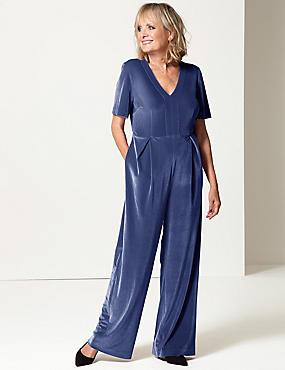 Velvet Short Sleeve Jumpsuit , MIDNIGHT, catlanding