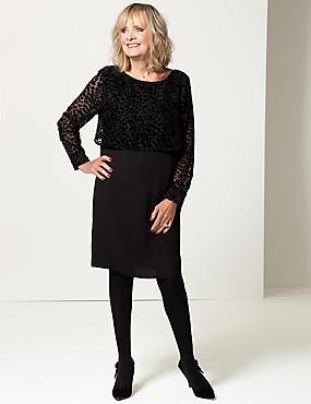 Textured Long Sleeve Shift Dress , BLACK, catlanding