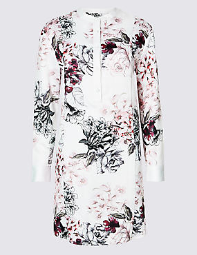 Floral Print Long Sleeve Tunic Dress , IVORY MIX, catlanding