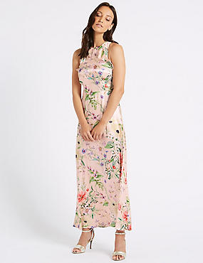 Floral Print Satin Bodycon Maxi Dress , PINK MIX, catlanding