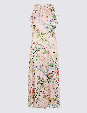 Floral Print Satin Bodycon Maxi Dress
