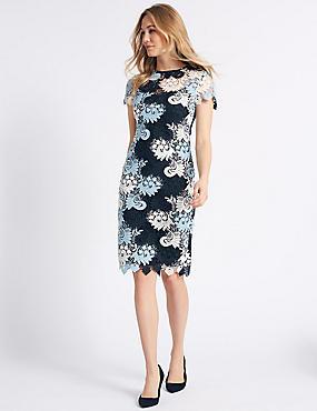 Swirl Lace Short Sleeve Bodycon Dress , MULTI, catlanding