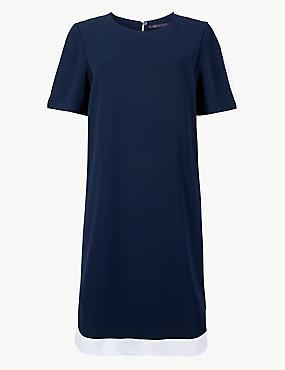 Colour Block Short Sleeve Shift Dress, NAVY MIX, catlanding