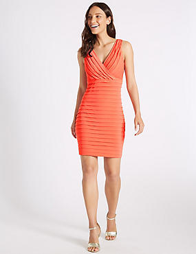 Textured Jersey Bodycon Dress , CORAL, catlanding