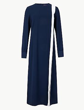 Long Sleeve Shift Midi Dress, NAVY MIX, catlanding