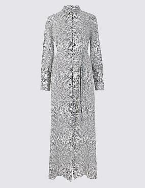Printed Long Sleeve Shirt Maxi Dress , IVORY MIX, catlanding