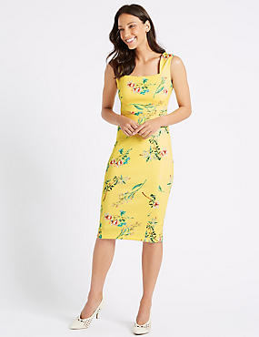 Floral Print Square Neck Bodycon Midi Dress