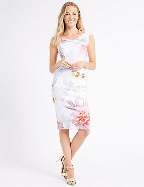 Floral Print Cap Sleeve Bodycon Midi Dress, IVORY MIX, catlanding