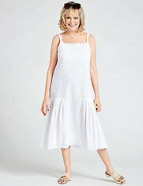 Pure Cotton Embroidered Tunic Midi Dress, IVORY, catlanding