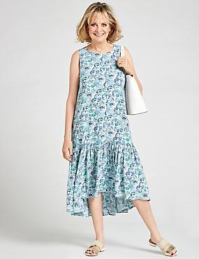Printed Tiered Swing Midi Dress , BLUE MIX, catlanding