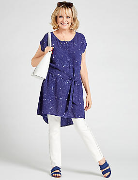 Star Print Short Sleeve Tunic Dress, NAVY MIX, catlanding